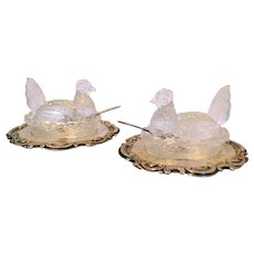 Antique Pair Topazio Salt Cellars Chicken/Hens on Nest with Sterling Base and Spoons