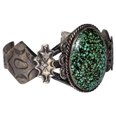 Vintage Navajo Pawn Native American Sterling Spider Web Turquoise Cuff Bracelet