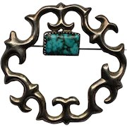 Native American Navajo Tommy Jackson Turquoise and Sterling Pin / Brooch