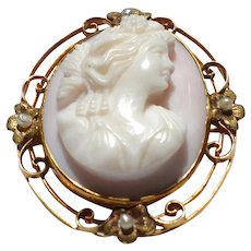 Antique Angel Skin Coral  14k Gold with Seed Pearls Cameo Pendant Brooch