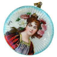 Antique Art Nouveau Large Enamel Guilloche Pendant Brooch In the Style of Mucha
