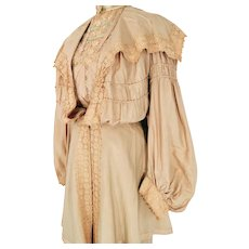Antique Victorian Edwardian Silk and Lace Three Piece Walking Outfit Skirt Blouse Jacket Circa 1900