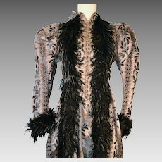 Antique Victorian Chenille Velvet Bustle Dress with Black Ostrich Feathers Trim Museum Quality