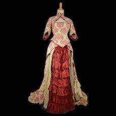 Antique Fancy Victorian Bustle Evening Dress Gown Long Train