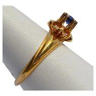 Vintage Hallmarked Cornflower Blue Sapphire 10k Yellow Gold Ring