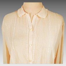 Vintage Fine Italian Silk Semi Sheer Embroidered Blouse