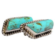 Vintage Classic Native American Indian NavajoTurquoise  Sterling Silver Earrings Circa 1940's