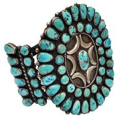 Vintage  Native American Zuni Indian Large Turquoise Sterling Silver Bracelet Cuff