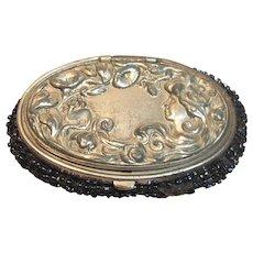 Antique Art Nouveau, Plated Coin Purse with Art Nouveau Lady