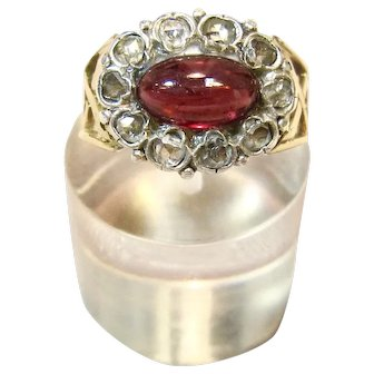 Exceptionally Beautiful Antique Garnet & Rose Cut Diamond Ring in 14K Gold