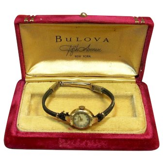 1960's Ladies Bulova Wind-Up Wristwatch, Solid 14K Yellow Gold in Original Box