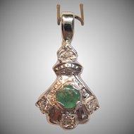 Art Deco Emerald Pendant with Diamond Accents in 14K White Gold