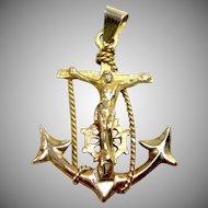 Vintage 14K yellow gold Nautical Mariner's Cross