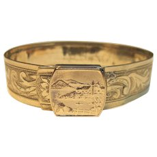 Antique Victorian Bangle Bracelet 18K Yellow Gold and Gold Filled