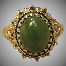 Vintage Jade Ring in 10K Yellow Gold