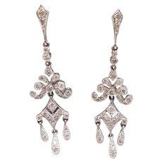 Diamond Pavé Chandelier Drop Earrings, 18K White Gold