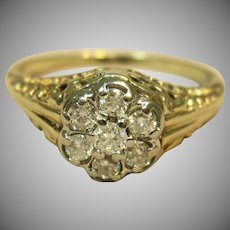 Charmer Vintage Cluster Ring in 10K Yellow Gold