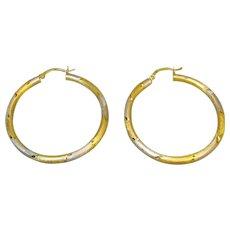 Stunning Large Tubular Hoop Earrings in 14K Two-Tone Gold