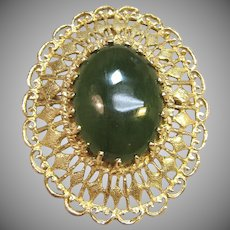 Stunning Vintage Jade Filigree Brooch/Pendant in Solid 14K Yellow Gold