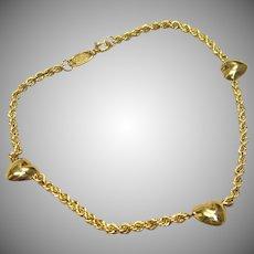 Fabulous Triple Heart Bracelet in Solid 14K Yellow Gold