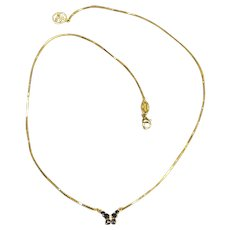 Feminine 18K Yellow Gold Sapphire & Diamond Butterfly Necklace by Zoccai