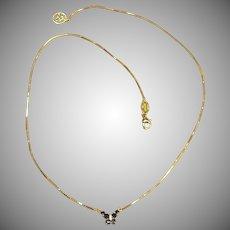 Feminine 18K Yellow Gold Sapphire & Diamond Butterfly Necklace by Zoccai