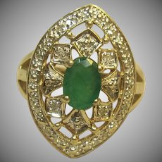 Vintage Natural Emerald & Diamond Ring in 10K Two Tone Gold