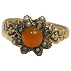 Victorian Carnelian & Seed Pearl Ring in 10K Rose Gold