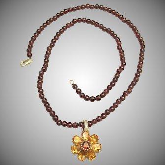 Versatile 4ctw Citrine Garnet Diamond Pendant with Garnet Bead Chain 10K Gold
