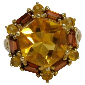 10K Hexagon Citrine and Garnet Baguette Cocktail Ring