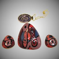 Exceptional Eisenberg Artist Series Collection Pin and Earrings Circa 1970's