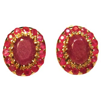 Breathtaking Vintage Purple Sapphire & Rubies Post Earrings in 10K