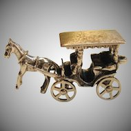 Vintage Sterling Silver 3D Horse and Carriage Charm by Beau