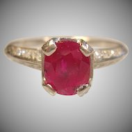 Exceptional Vintage 1.23 Ct. Ruby with Diamond Ring in IRID PLAT.