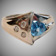 Stunning Blue Topaz with Diamond Accents in 14K White Gold