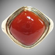 Dramatic Vintage Carnelian Ring in 10K Yellow Gold