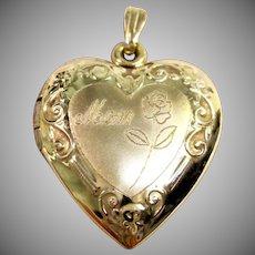 "Sentimental ""MOM"" Heart Locket Pendant in 14K Yellow Gold"