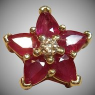 Darling Natural Ruby Flower Pendant in 10K Yellow Gold
