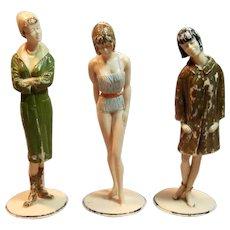 Set of 3 Vintage Fashion Cuties Figures by Louis Marx Circa 1960's