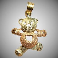 Adorable Moveable Teddy Bear Pendant in 14K Two-Tone Gold