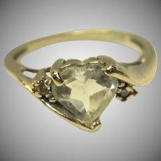 Sweet Aquamarine Ring in 10K White Gold
