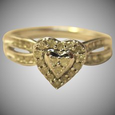 Beautiful Heart Ring Diamond in Solid 10K White Gold