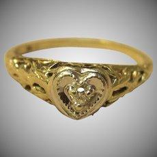 Vintage Filigree Diamond Heart Ring in 10K Two Tone Gold