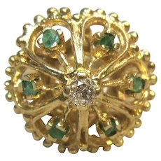 Vintage Emeralds & Diamond Ring in 14K Yellow Gold