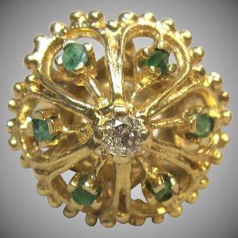 Vintage Emeralds & Diamond Ring in 14K Yellow Gold