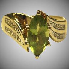 Beautiful Peridot & Diamond Ring in 10K Yellow Gold