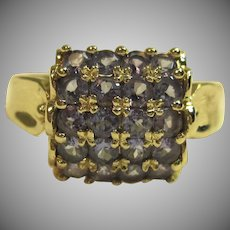 Elegant Cluster Tanzanite Ring in Solid 14K Yellow Gold