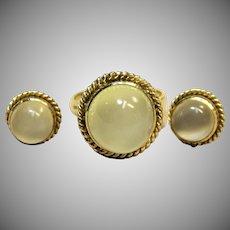 Elegant Vintage Moonstone Set in Solid 14K Yellow Gold