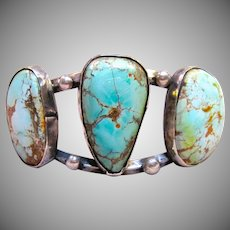 Old Pawn Navajo Spider Web Turquoise Silver Cuff Bracelet SIGNED
