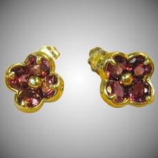 14K Garnet Floral Stud Earrings